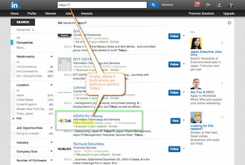 Screenshot showing how Linkedin Finally Fixed the Tokyo Location Bug.