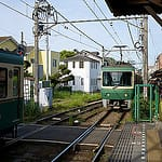 Enoden train in Hase, Kamakura